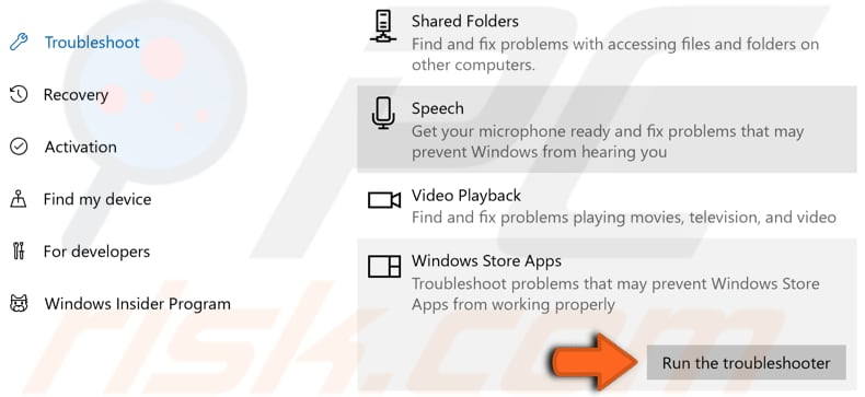 run windows store apps troubleshooter step 2