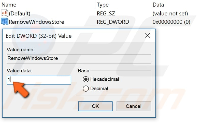 disable windows store using registry editor step 4