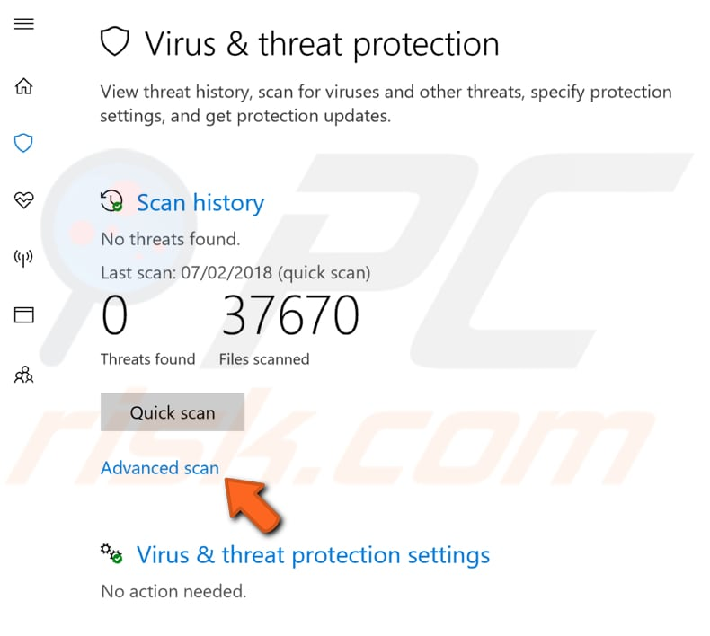 scan your system for viruses step 2