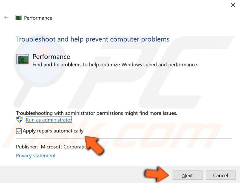 run system performance troubleshooter step 2
