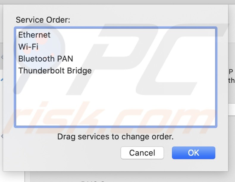 Drag services to Set Service Order
