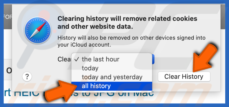 Clear all history in Safari browser