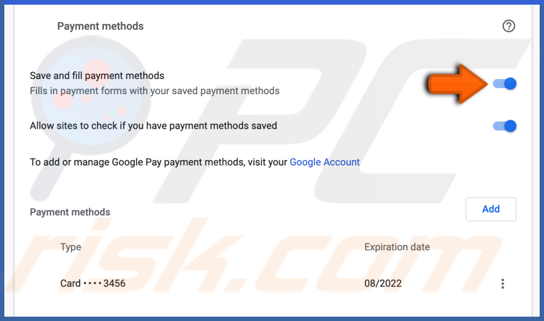 Turn off save and fill payment methods in chrome on Mac