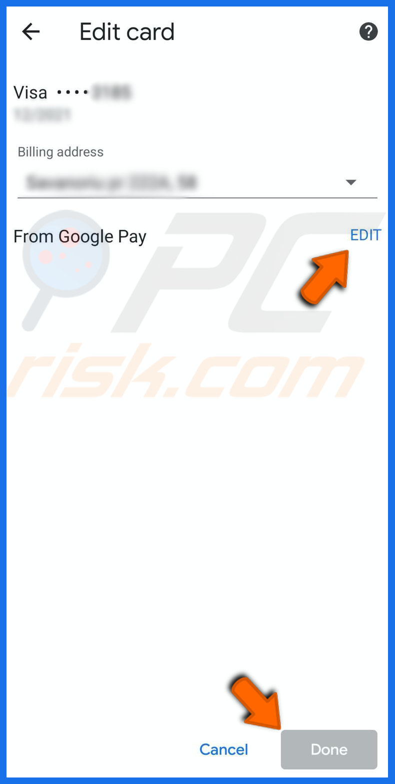Edit payment methods in chrome on iPhone