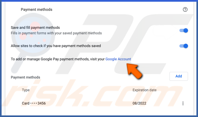 Manage payment methods in chrome on Mac