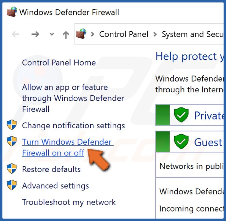 Click Turn Windows Defender Firewall on or off