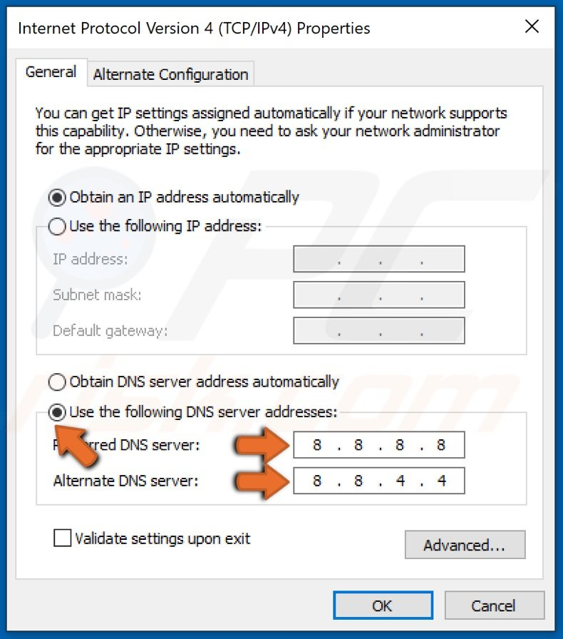 Replace Preferred and Alternate DNS