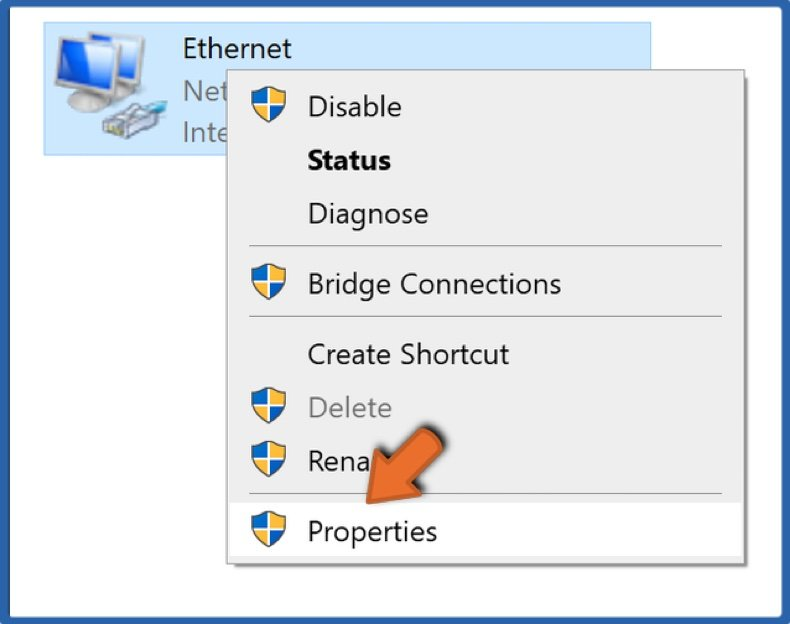 Right-click your network device and click Properties