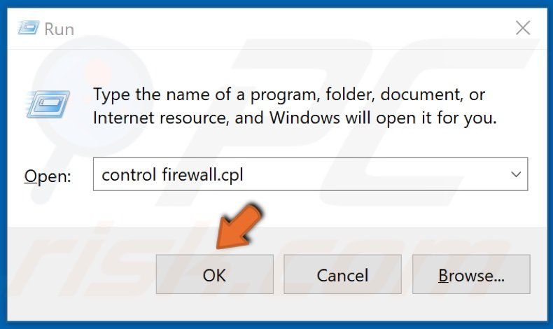 Type firewall.cpl and click OK