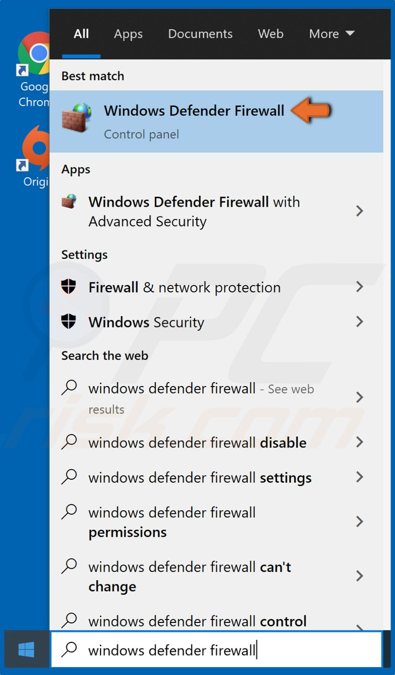 Click Start and type in Windows Defender Firewall