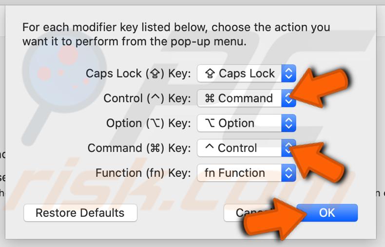 Alterne as teclas modificadoras de lugar como preferir