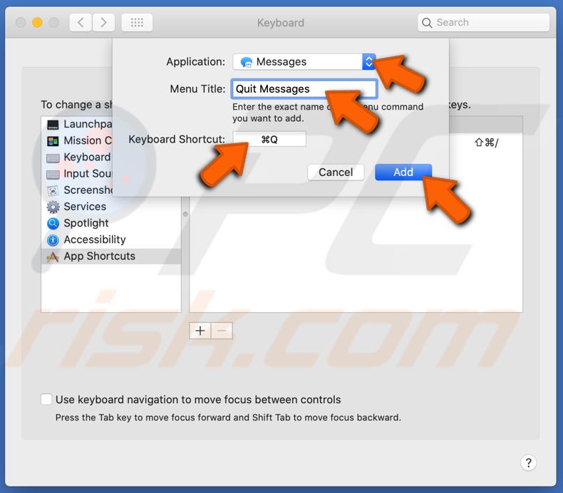 Personalize atalhos de aplicativos específicos