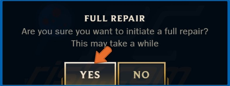Click Yes to initiate the repair