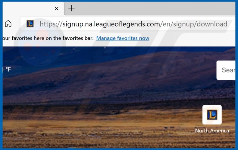 open your browser and go to the League of Legends download page