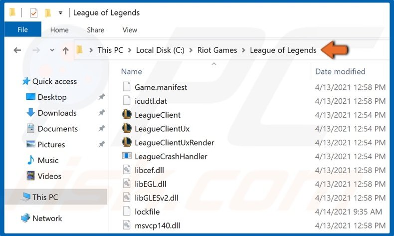 Navigate to the Leage of Legends installation directory
