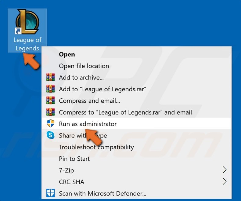 Right-click League of Legends shortcut and click Run as administrator