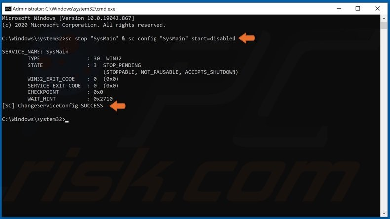 Enter command to disable SysMain via Command Prompt