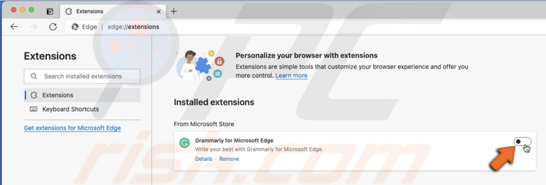 Disable extension in Edge