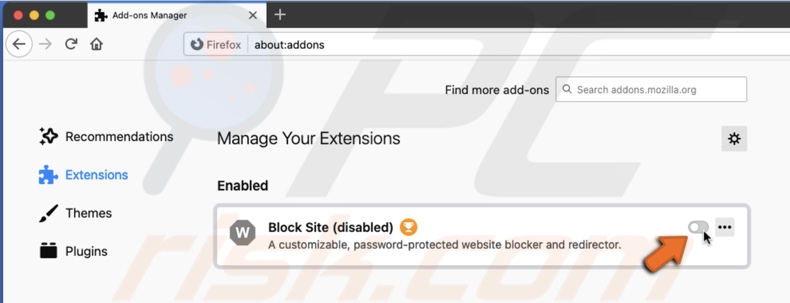 Disable extension in Firefox