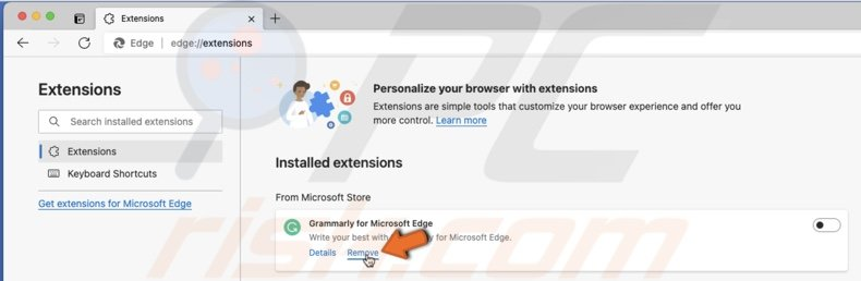 Remove extension in Edge