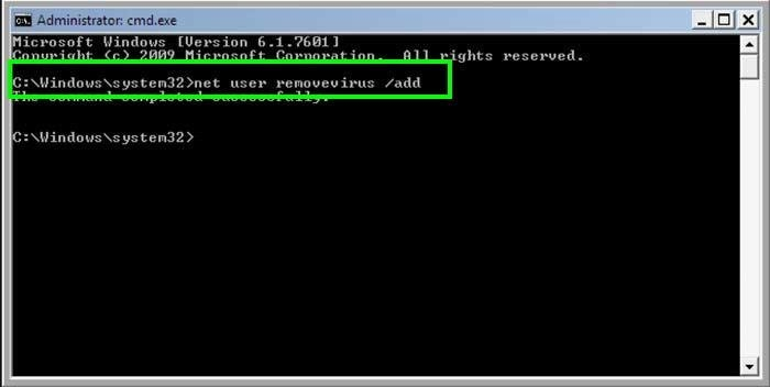 How to create a new user account using command prompt?