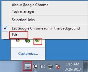 Close any runing Google Chrome browsers