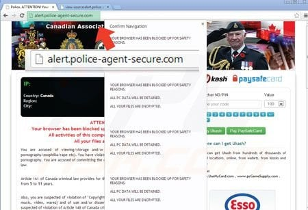 Browser locker ransomware using cloudflare alert police agent secure