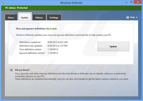 Updating Windows Defender