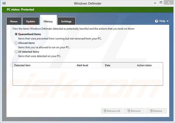 Windows Defender history of quarantined files