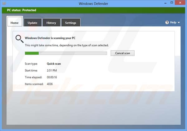 Windows Defender running a security scan