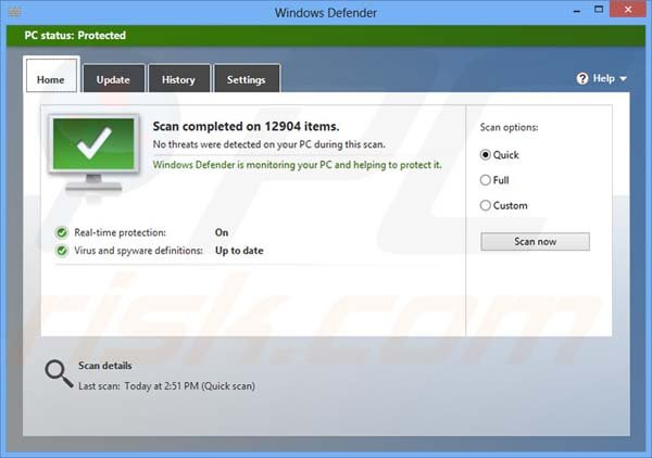 Windows Defender finished security scan