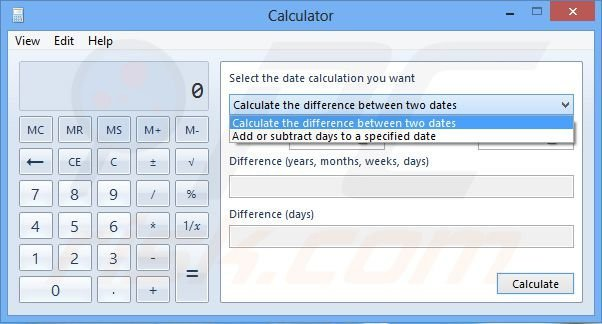 Two different ways of calculating the dates (Windows 8)