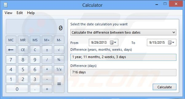 Windows 8 calculating the difference between two dates