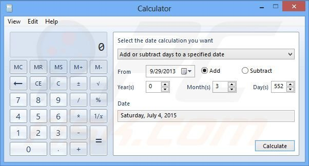Windows 8 date calculation adding days
