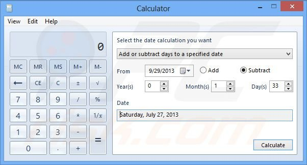 Windows 8 date calculation substraction