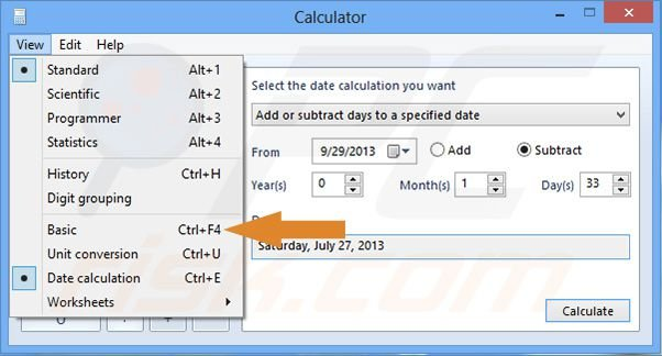 Windows 8 calculator - changing back to default