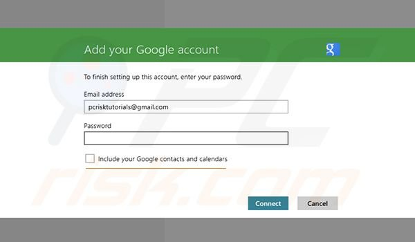 Adding Gmail to Windows 8 Mail app Step2 (adding your account)