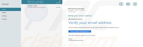 Adding Gmail to Windows 8 Mail app Step3 (first account is ready to use)