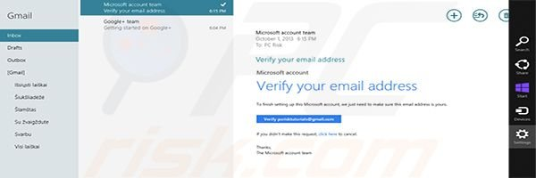 Adding Gmail to Windows 8 Mail app Step4 (opening mail settings)