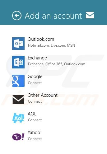 Adding Gmail to Windows 8 Mail app Step7 (choosing additional mail accounts)