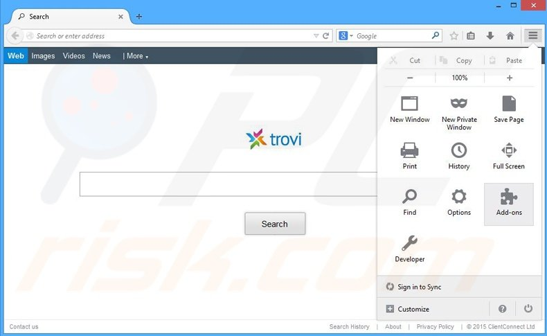 Removing The proxy server is not responding ads from Mozilla Firefox step 1