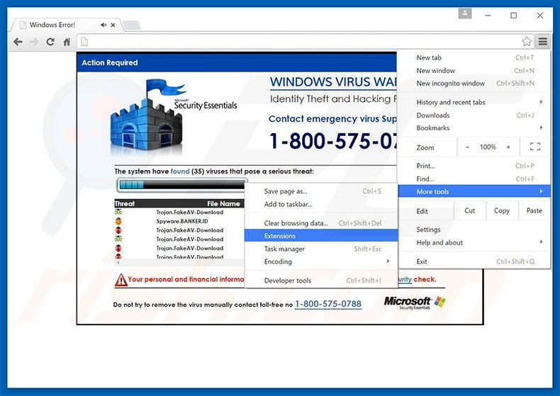 Removing WINDOWS VIRUS WARNING! Identity Theft and Hacking Possibilities  ads from Google Chrome step 1