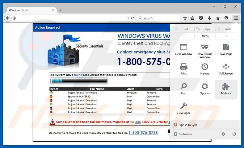 Removing WINDOWS VIRUS WARNING! Identity Theft and Hacking Possibilities ads from Mozilla Firefox step 1