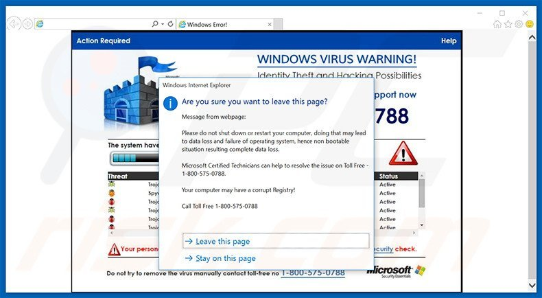 WINDOWS VIRUS WARNING! Identity Theft and Hacking Possibilities adware