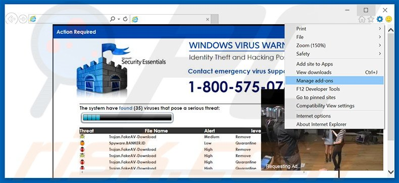 Removing WINDOWS VIRUS WARNING! Identity Theft and Hacking Possibilities ads from Internet Explorer step 1