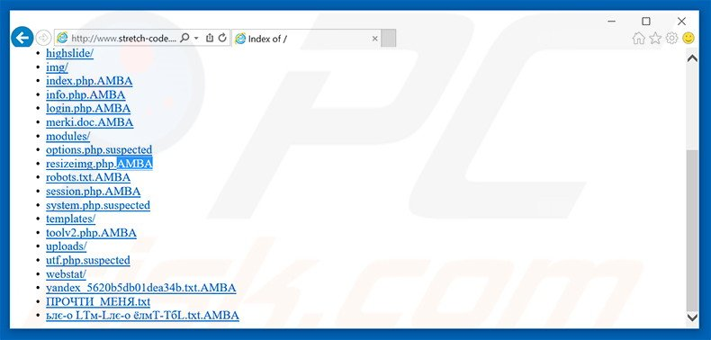 Website server infected with AMBA